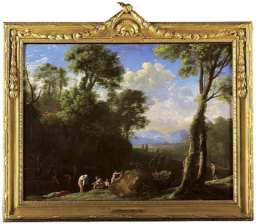 A wooded lake landscape with Diana and her nymphs bathing