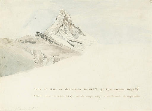 The Matterhorn, Switzerland, from the north-east; an illustration to 'Modern Painters', Vol. 4