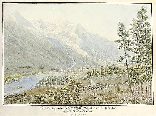 Vue d'une partie du Mont-Blanc du côté de Salenche dans la Vallée de Chamouni