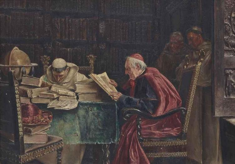 The cardinal's visit to the library