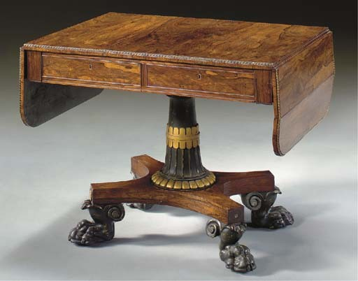 A REGENCY BRASS-MOUNTED ROSEWOOD AND PARCEL-EBONIZED AND GILT SOFA TABLE