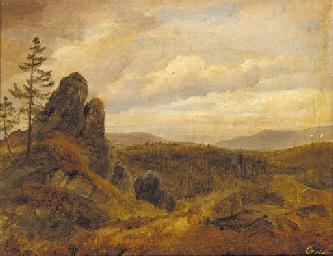 Georg-Heinrich Crola (1804-1879) An extensive mountainous landscape