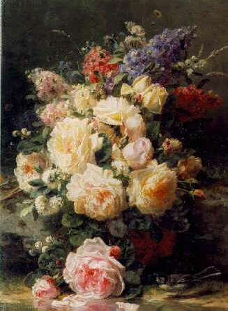 JEAN BAPTISTE ROBIE (BELGIAN, 1821-1910) Still Life with Roses, Syringas and a Blue Tit on a Mossy Bank