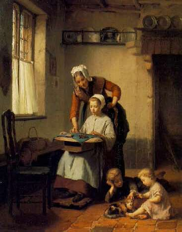 THEODORE GERARD(Footnote 1) (BELGIAN, 1829-1895) The Embroidery Lesson