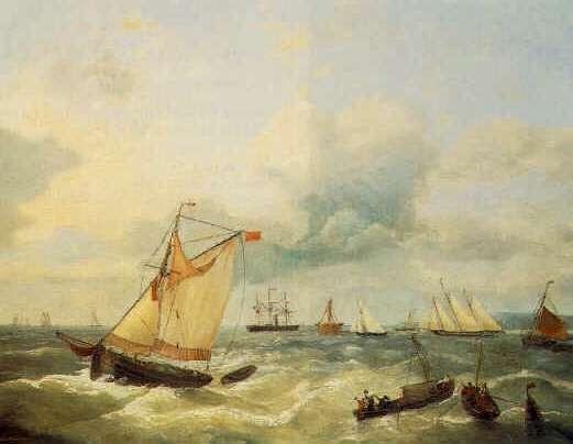 LOUIS VERBOECKHOVEN (BELGIAN, 1802-1889) Sailing Ships in Choppy Seas