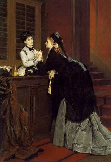 JULES EMILE SAINTIN (FRENCH, 1829-1894) A Visit to the Glove Maker