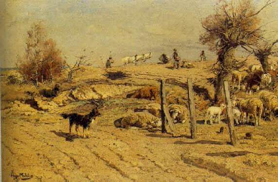 HUGO MUHLIG (GERMAN, 1854-1929) Guarding the Herd