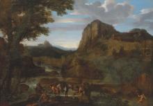 GIOVANNI FRANCESCO GRIMALDI, IL BOLOGNESE (BOLOGNA 1606-1680 ROME) - A rocky river landscape with fishermen