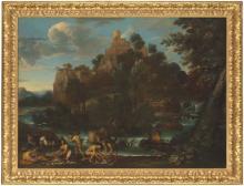 GIOVANNI FRANCESCO GRIMALDI, IL BOLOGNESE (BOLOGNA 1606-1680 ROME) - A wooded river landscape with fishermen on a bank