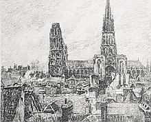 Camille Pissarro, Lithograph: Le Vieux Quartier de Rouen