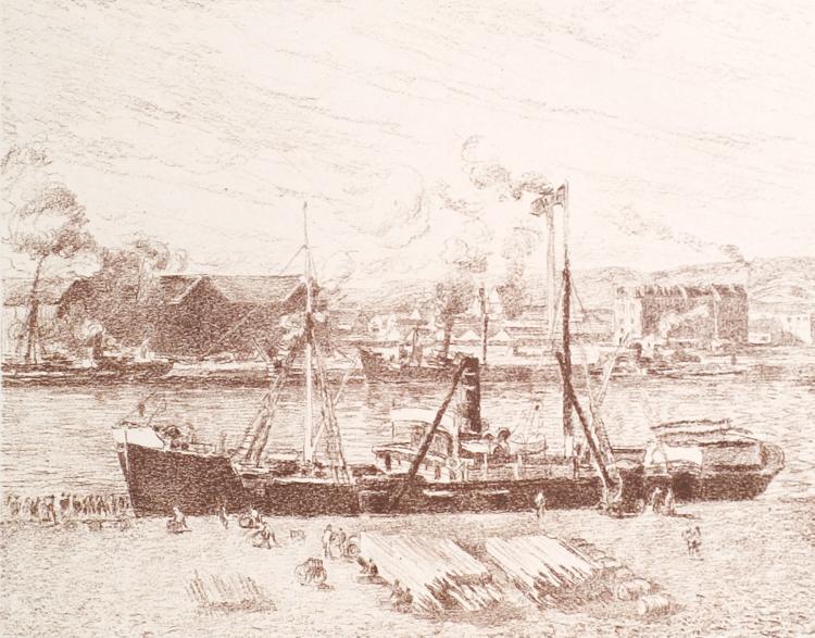 Camille Pissarro, Lithograph: Bateau A Rouen