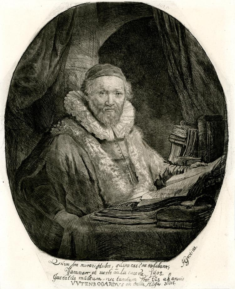 Rembrandt Van Rijn, Etching: Jan Uytenboagert, Preacher of the Remonstrants