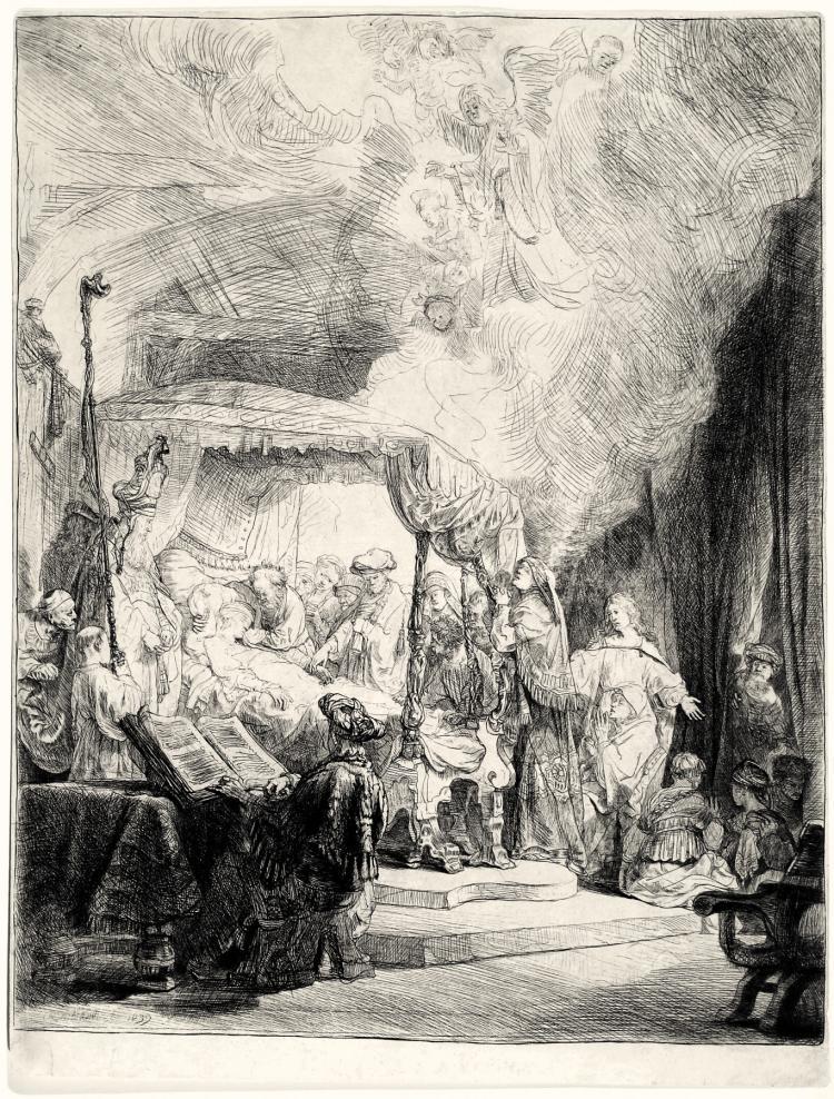 Rembrandt Van Rijn, Etching: THE DEATH OF THE VIRGIN