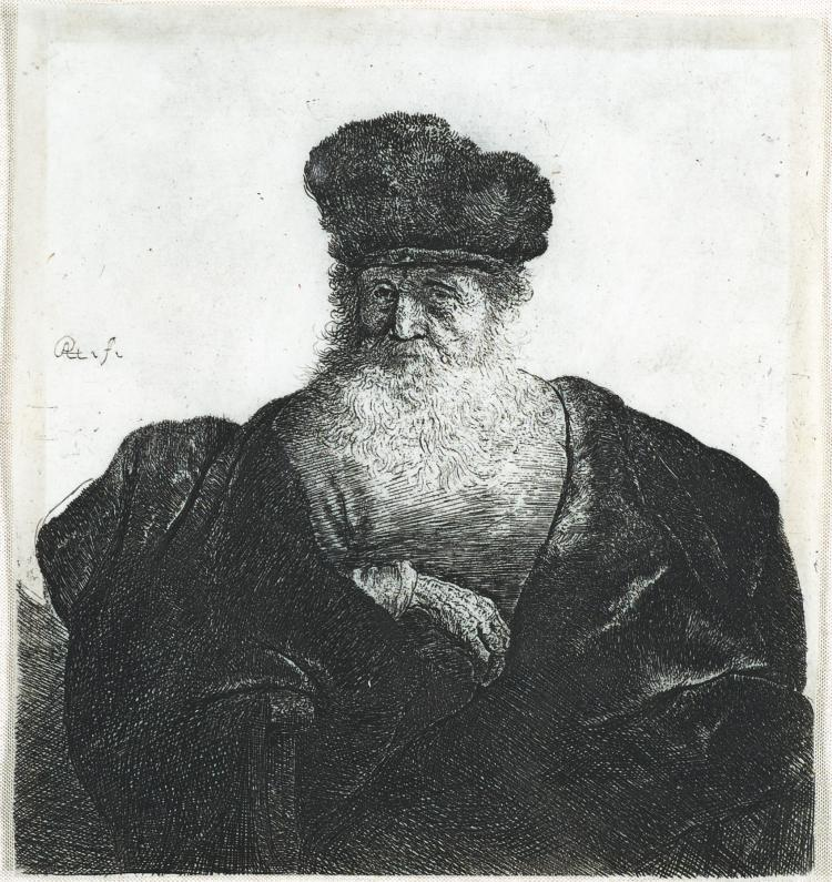 Rembrandt Van Rijn, Etching: Old Man with a Beard, Fur Cap and Velvet Cloak
