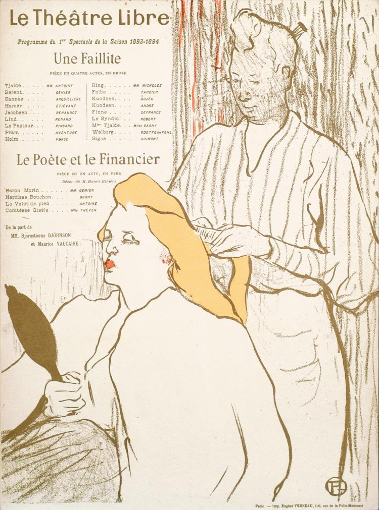 Henri de Toulouse-Lautrec, Lithograph: Le Coiffeur- Programme Du Theatre Libre