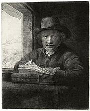Rembrandt Van Rijn, Etching & Drypoint: SELF-PORTRAIT DRAWING AT A WINDOW