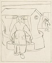 Camille Pissarro, Drawing: Paysanne au Puits