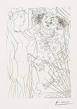 Pablo Picasso, Etching: Rembrandt Tenant Par la Main une Jeune Femme au Voile