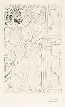 Pablo Picasso, Drypoint: Trois Comédiens Avec Buste de Marie-Thérese