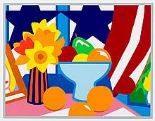 Tom Wesselmann, screenprint: Still Life with Red Blowing Curtain