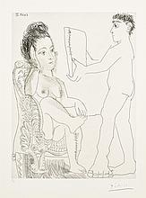 Pablo Picasso, Etching: Jeune Homme Présentant un Miroir ou un Portrait, A Une Femme