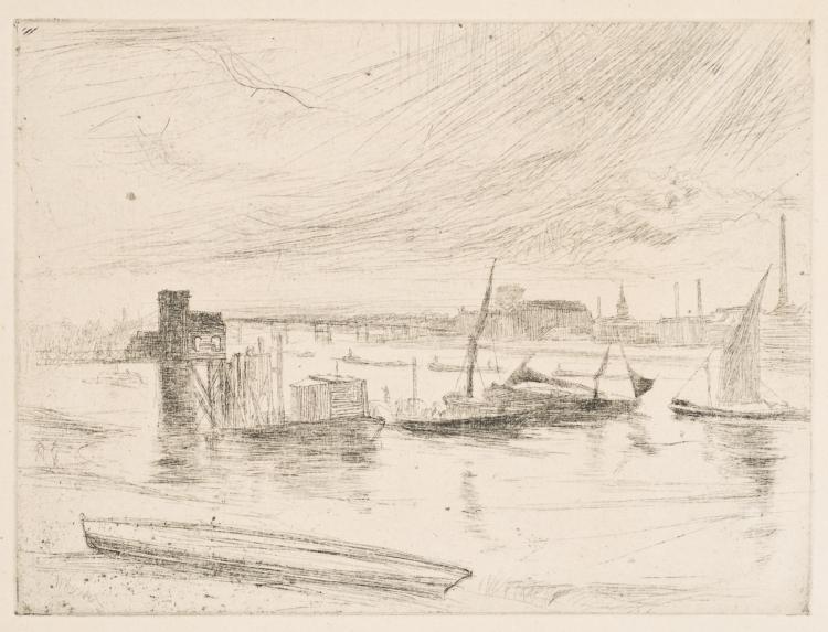 James Abbott McNeill Whistler, Drypoint: BATTERSEA DAWN (CADOGAN PIER)