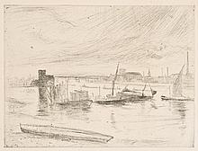 James Abbott McNeill Whistler, Drypoint: BATTERSEA DAWN (CADOGAN PIER)