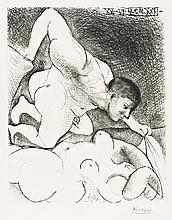 Pablo Picasso, Drypoint: Homme Dévoilant Une Femme