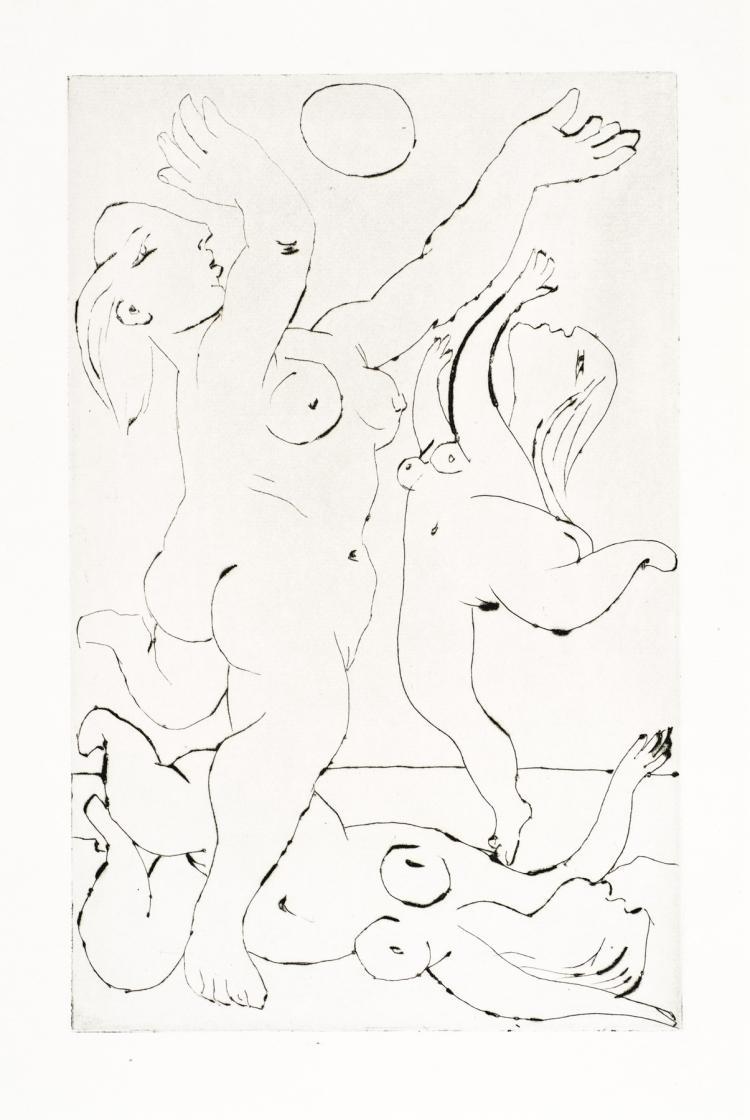 Pablo Picasso, Drypoint: Baigneuses Au Ballon, III