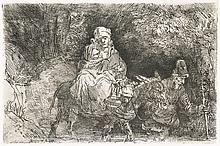 Rembrandt Van Rijn, Etching: The Flight Into Egypt: Crossing a Brook