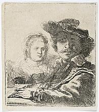 Rembrandt Van Rijn, Etching: REMBRANDT AND HIS WIFE SASKIA