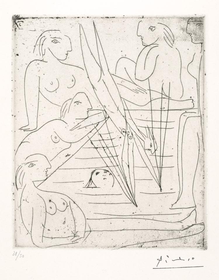Pablo Picasso, Etching: BAIGNEUSES A LA PISCINE