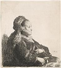 Rembrandt Van Rijn, Etching: THE ARTIST'S MOTHER SEATED, IN AN ORIENTAL HEADDRESS: HALF LENGTH