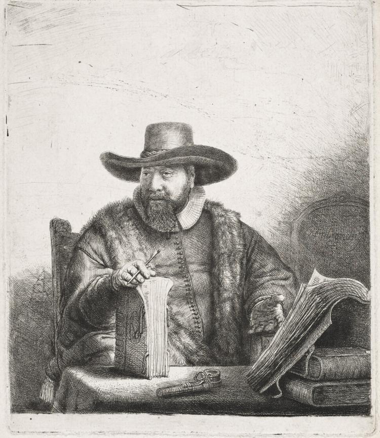 Rembrandt Van Rijn, Etching & Drypoint: CORNELIS CLAESZ ANSLO, PREACHER