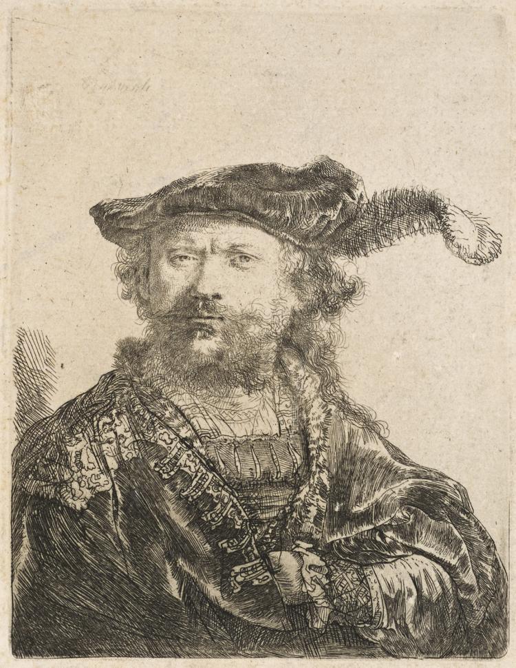 Rembrandt Van Rijn, Etching: SELF-PORTRAIT IN A VELVET CAP WITH PLUME