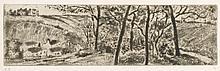 Camille Pissarro, Etching: PAYSAGE EN LONG