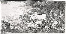 Giovanni Benedetto Castiglione, Etching: NOAH AND THE ANIMALS ENTERING THE ARK