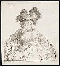 Rembrandt Van Rijn, Etching: OLD MAN WITH A DIVIDED FUR CAP