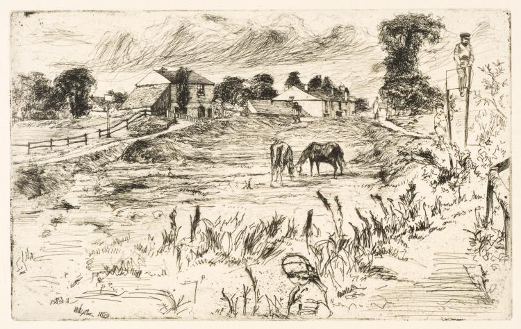 James Abbott McNeill Whistler, Etching: LANDSCAPE WITH HORSES