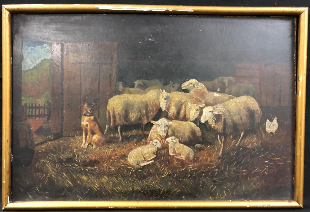 19th Century Farm Scene Oil