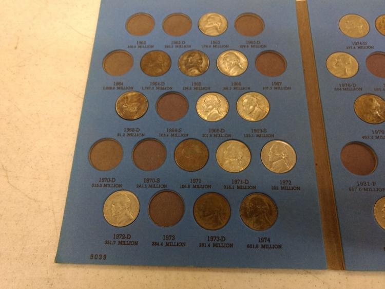 2 Partial Jefferson Nickel Books & 3 Partial Wheat Penny Books