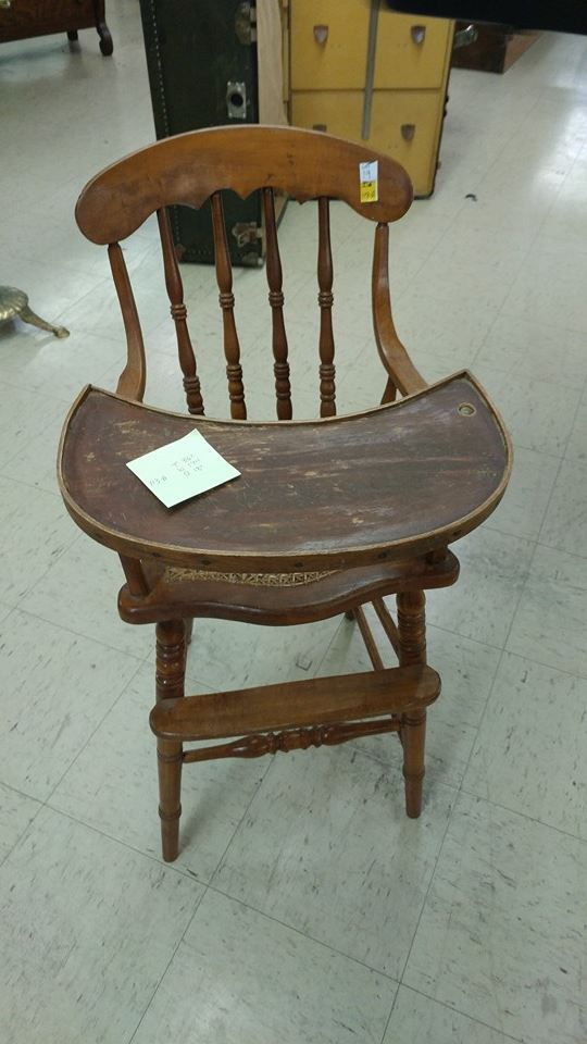 Vintage Wooden High Chair With Wooden Tray Cane Seat