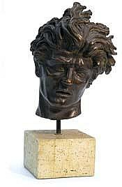 Bronze patinated sculpture inscribed on underside