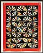 Important framed silk crazy quilt