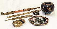 Group of Japanese Brass and Cloisonne Items, 19c
