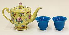 Chinese Yellow Teapot and Peking Glass Cups