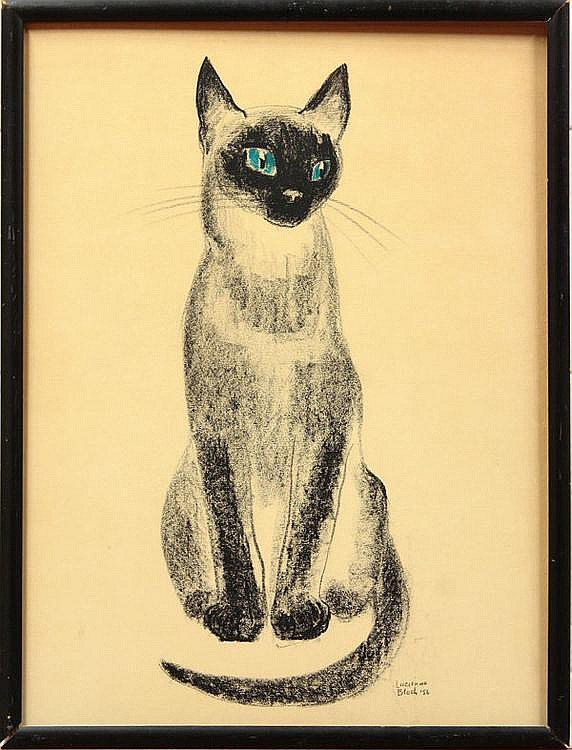Drawing, Lucienne Bloch, Siamese Cat