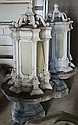 Pair of Victorian metal lanterns on stone base