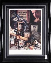 Framed memorabilia relating to Joe DiMaggio, featuring a printed collage  with images pertaining to Joe Dimaggio, signed at center b...
