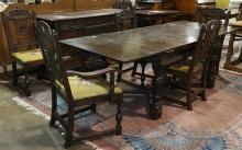 (lot of 7) Jacobean style dining room suite
